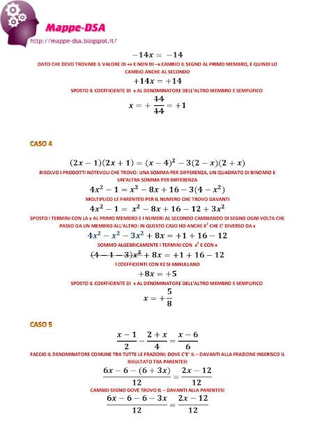 mappedsa mappa schema dsa dislessia discalculia matematica algebra equazioni primo grado esempi