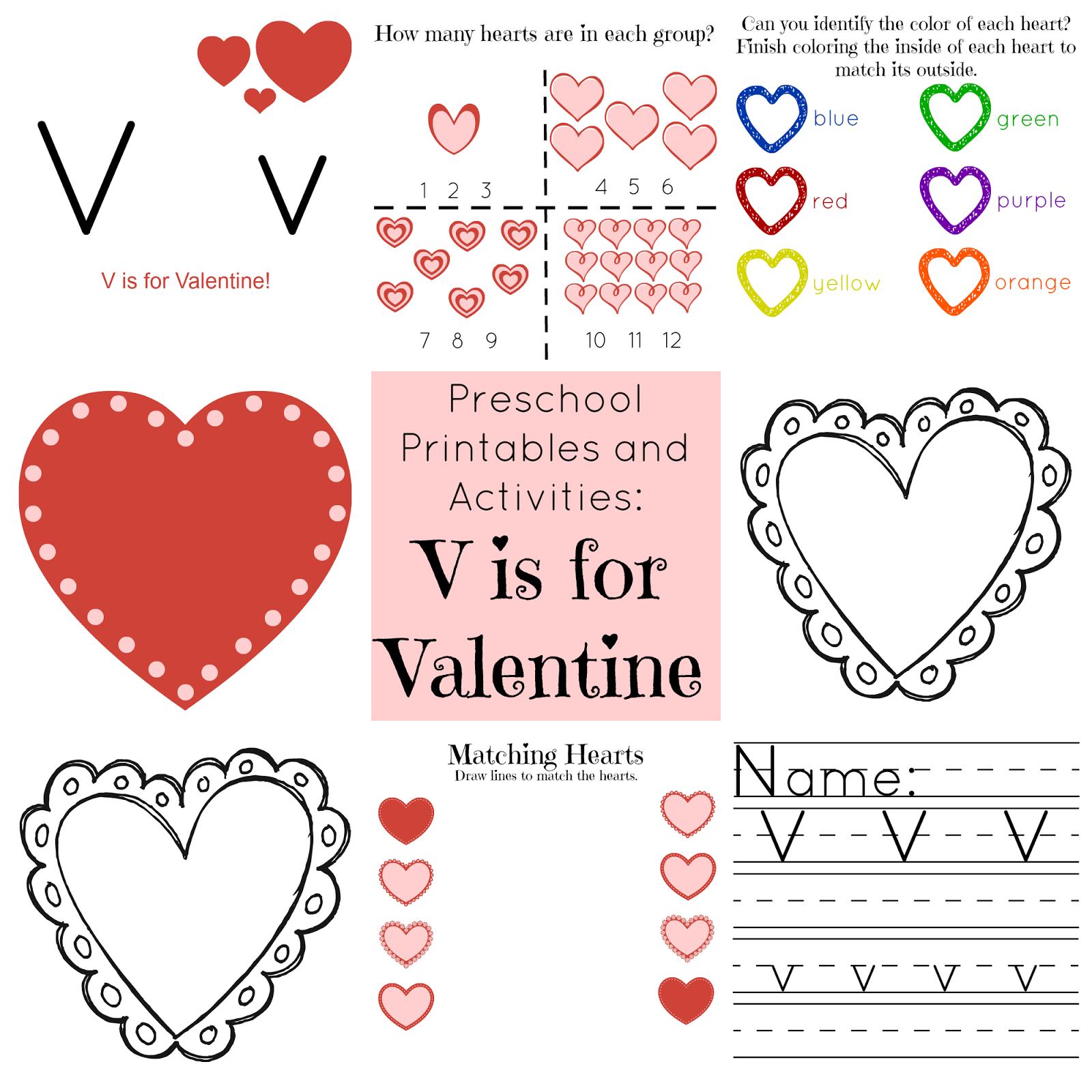 The Life of Jennifer Dawn V is for Valentine Preschool Printables – Valentine Worksheets for Preschool