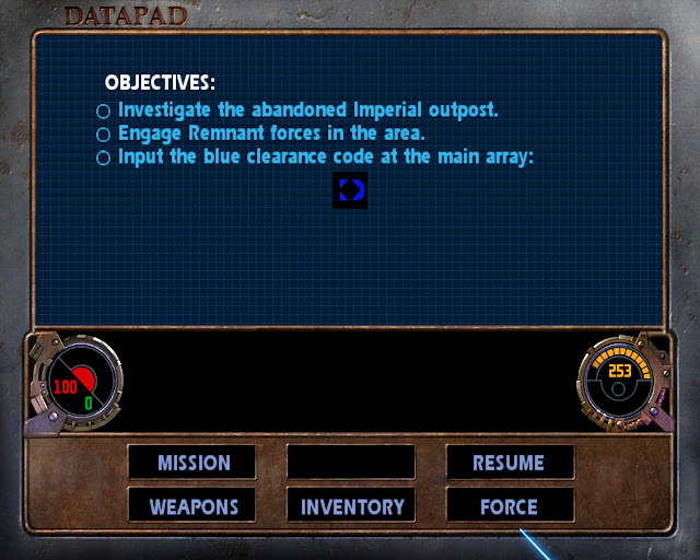 Jedi Outcast Datapad Objectives screen