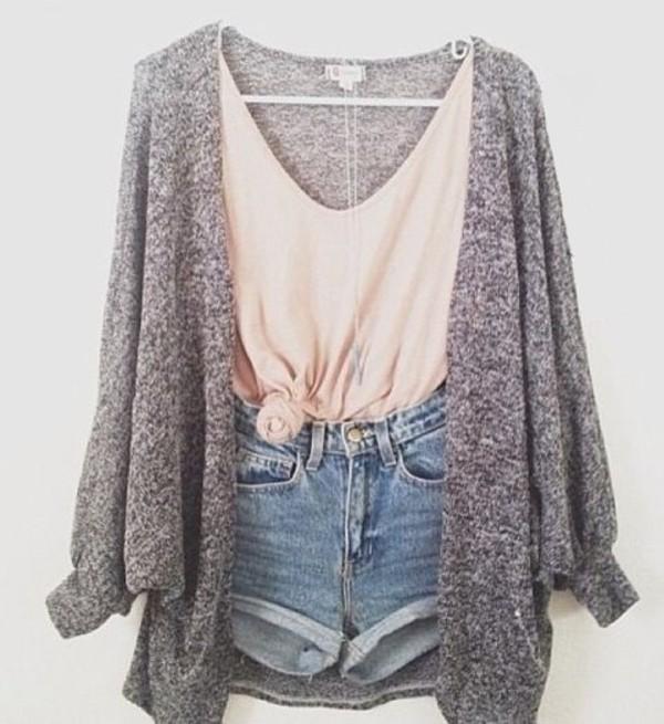 Lovely summer fashion style denim, short grey cardigan