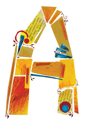 The letter A made of collage and type from Amy Hardy of Design 8 Days