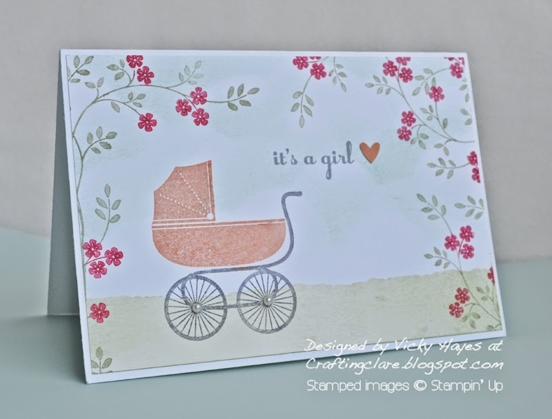 UK independent Stampin' Up demonstrator Vicky Hayes shows you how to makes a baby card with Something for Baby