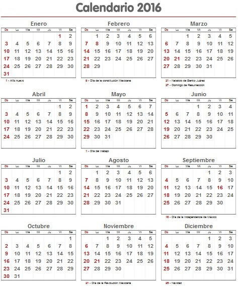... calendario 2016 para imprimir con las vacaciones mensual, calendario