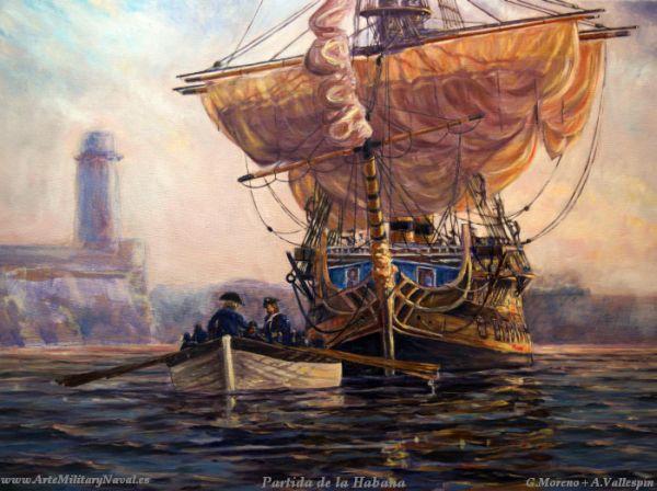 Óleo de un navío español saliendo de la Habana siglo XVIII