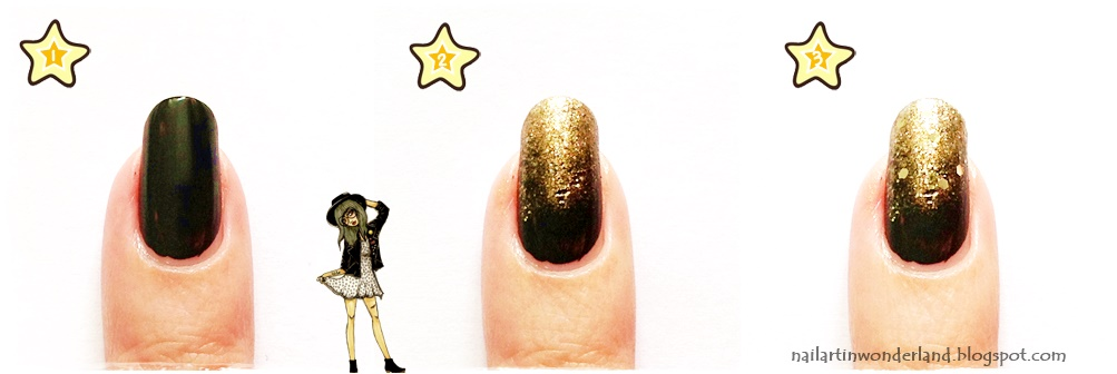 Cosmic dust nail art with black and gold
