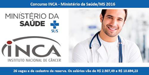 Ministério da Saúde abre Concurso do INCA-MS com 26 vagas e cargos
