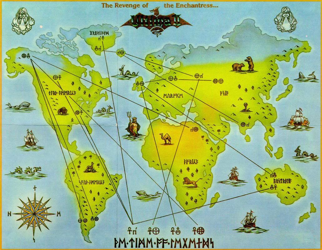 8Bit City Ultima II Box and World Map