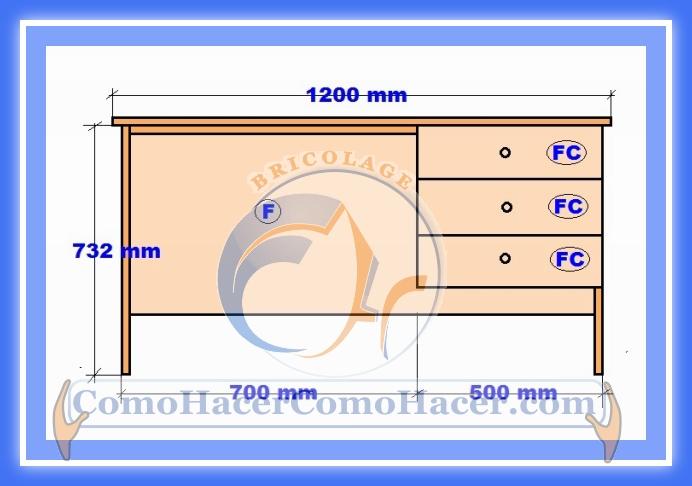 Plano de escritorio web del bricolaje dise o diy for Dimensiones de un escritorio