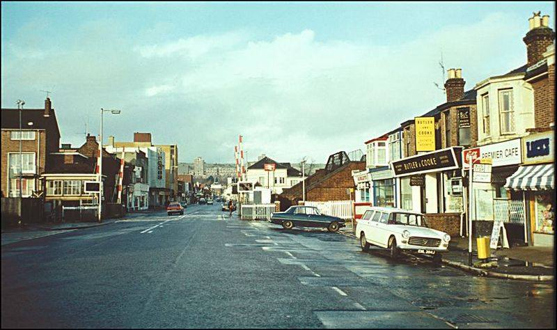 Cosham High Street by the crossing gates
