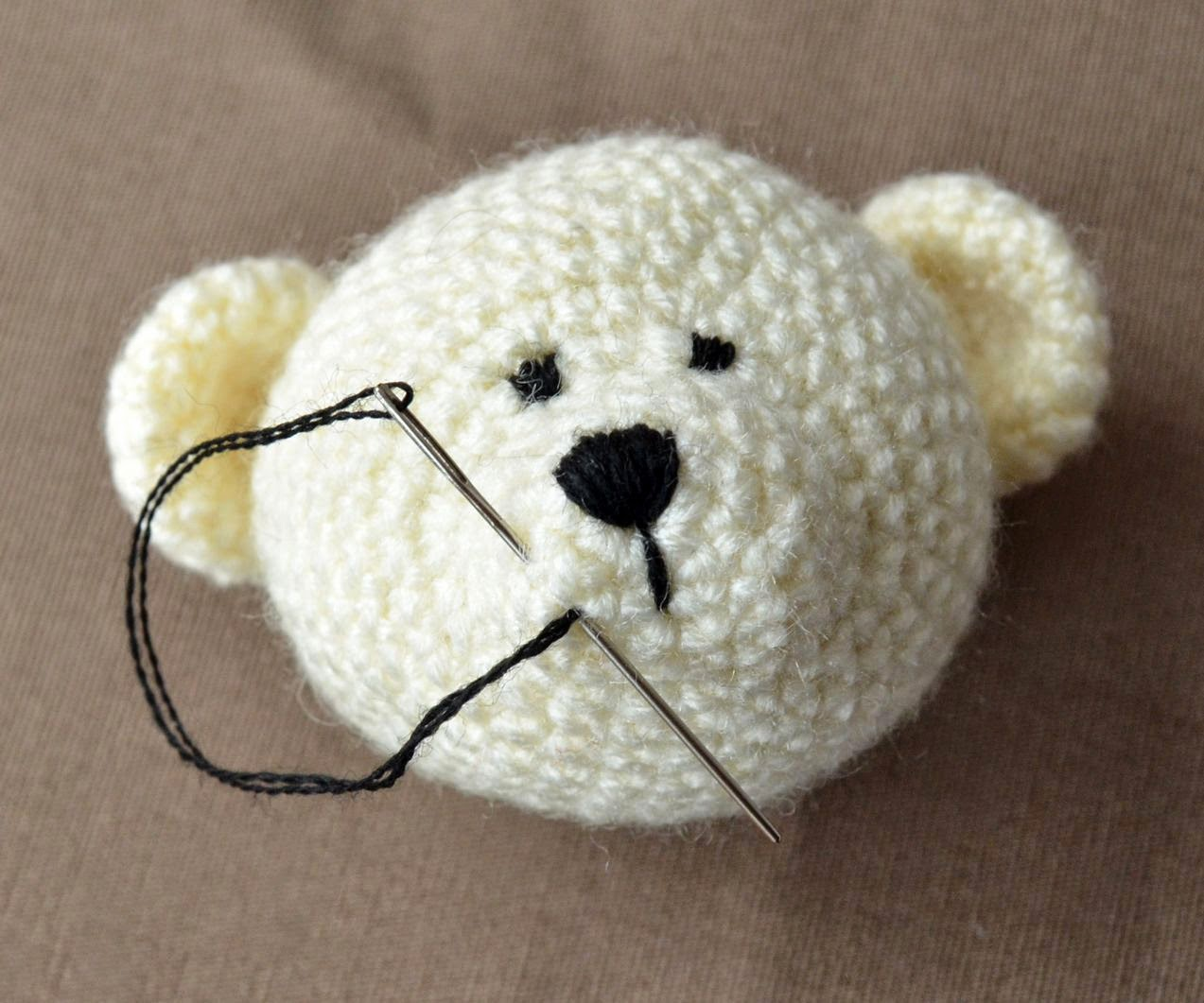How To Embroider Mouth Of A Crocheted Bear