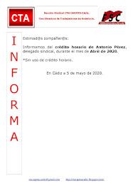 C.T.A. INFORMA CRÉDITO HORARIO ANTONIO PÉREZ, ABRIL 2020