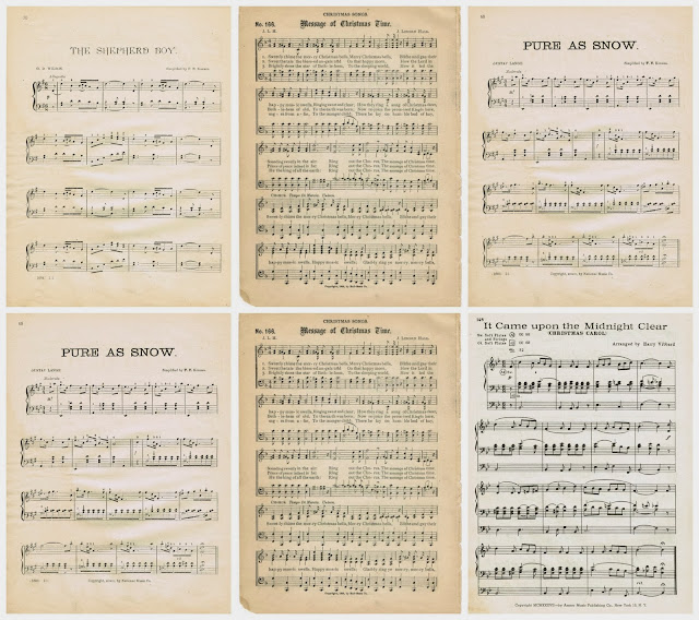 antique Christmas sheet music printables for Christmas tree ornaments - KnickofTime.net