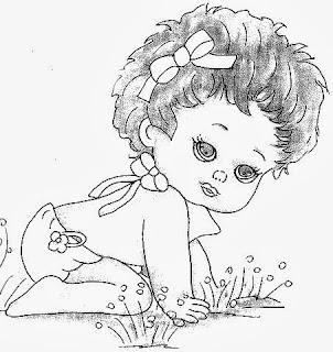 desenho bebe menina engatinhando para pintar