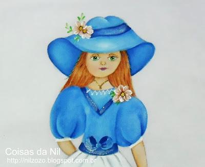 boneca dama ruiva pintada em tecido