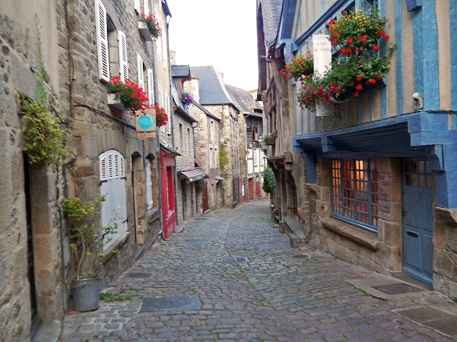 The Cobblestone Street of Rue Jerzual in Dinan, France