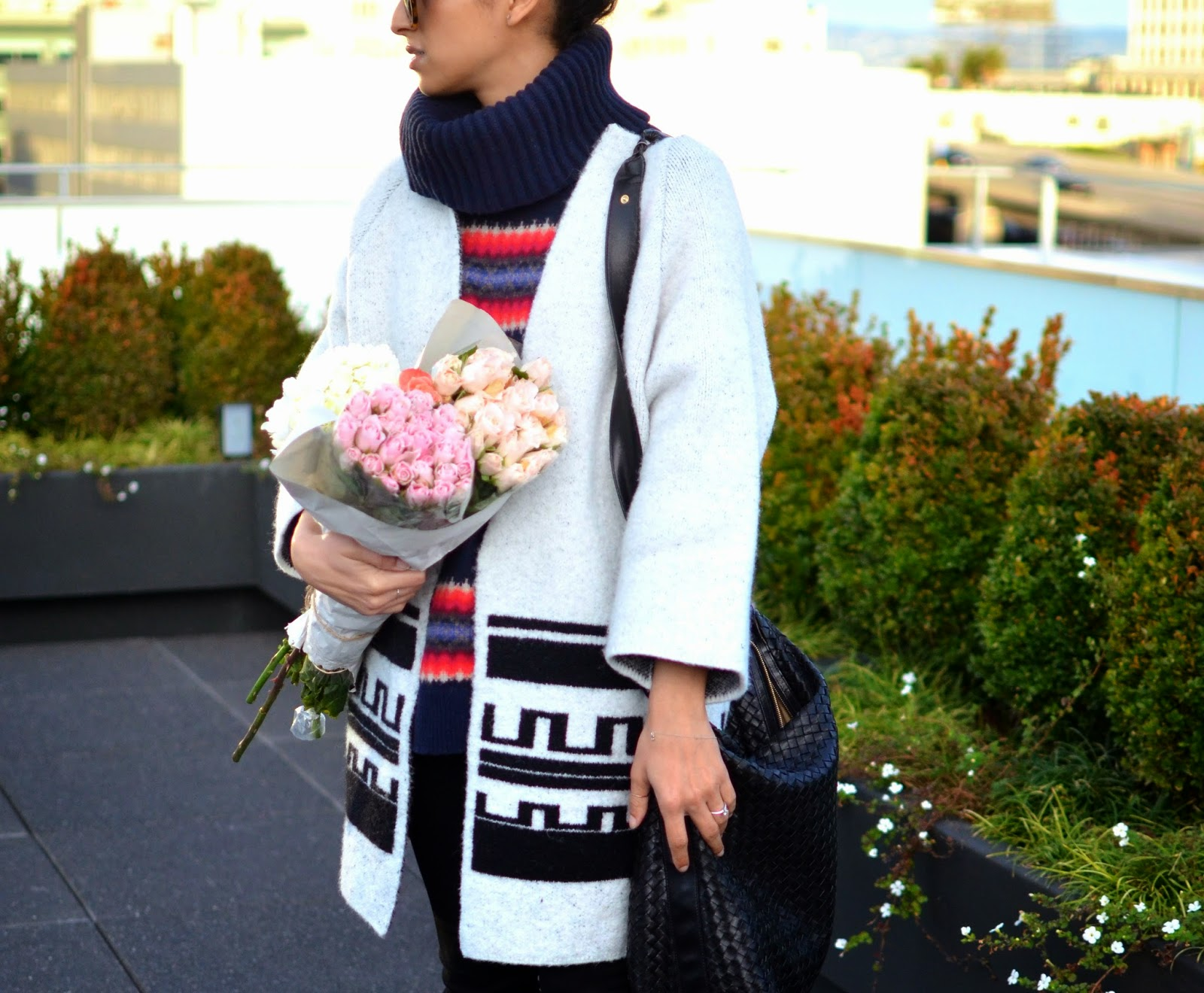 zara, white coat, how to wear contrasting prints, pink roses, bottega vendetta, leather handbag, Karen Walker super, gap chunky turtleneck