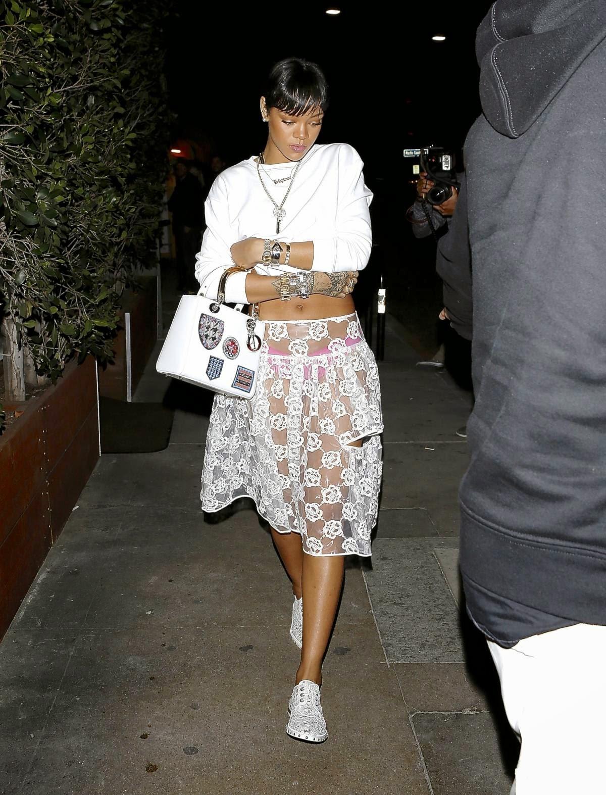 Rihanna See Through White Skirt Candids In L.A.