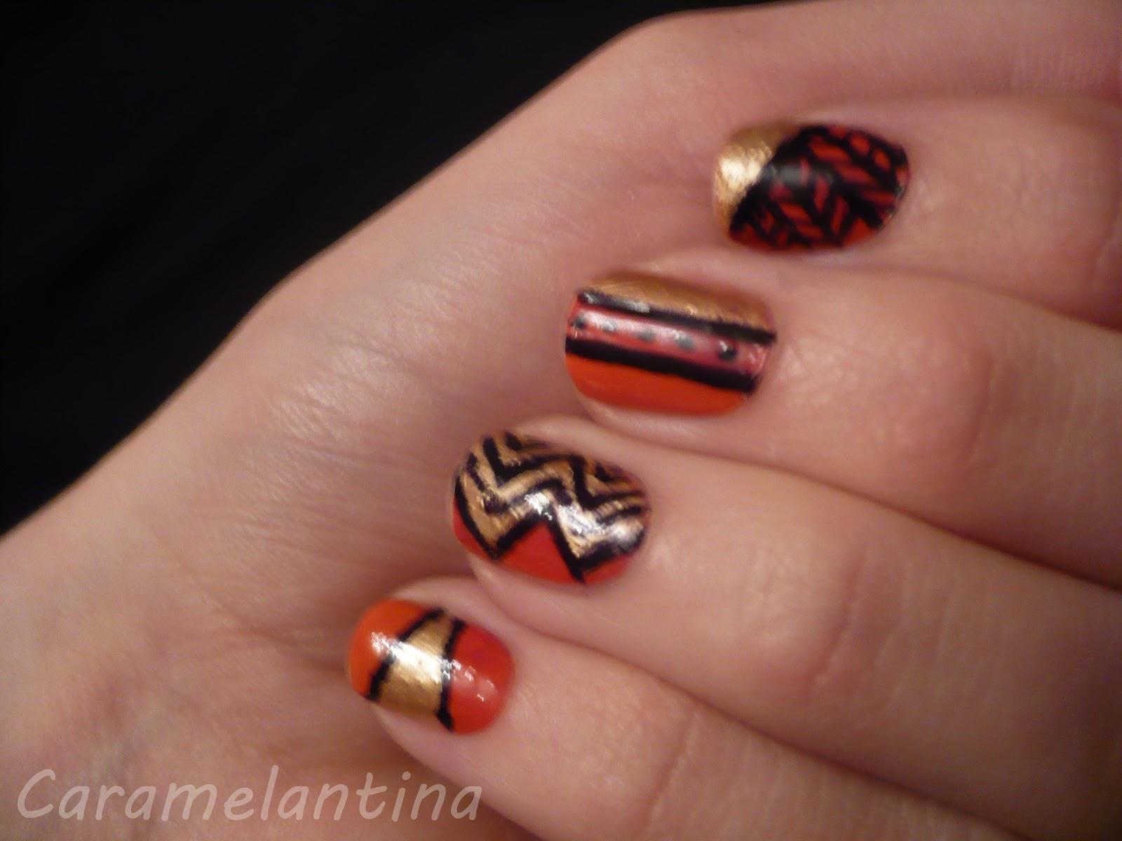 Nail art ideas, diseños, tribal, líneas, rayas, puntos, combinados, cinta scotch