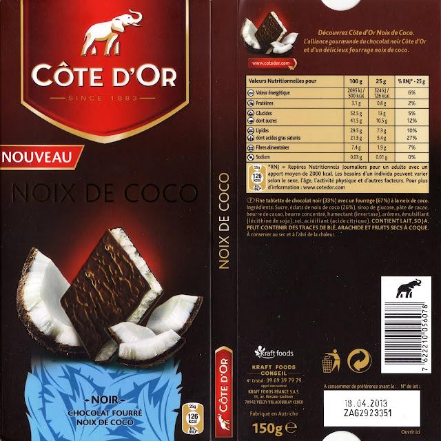 tablette de chocolat noir fourré côte d'or noix de coco