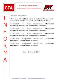 C.T.A. INFORMA CRÉDITO HORARIO ANTONIO PÉREZ, MAYO 2017
