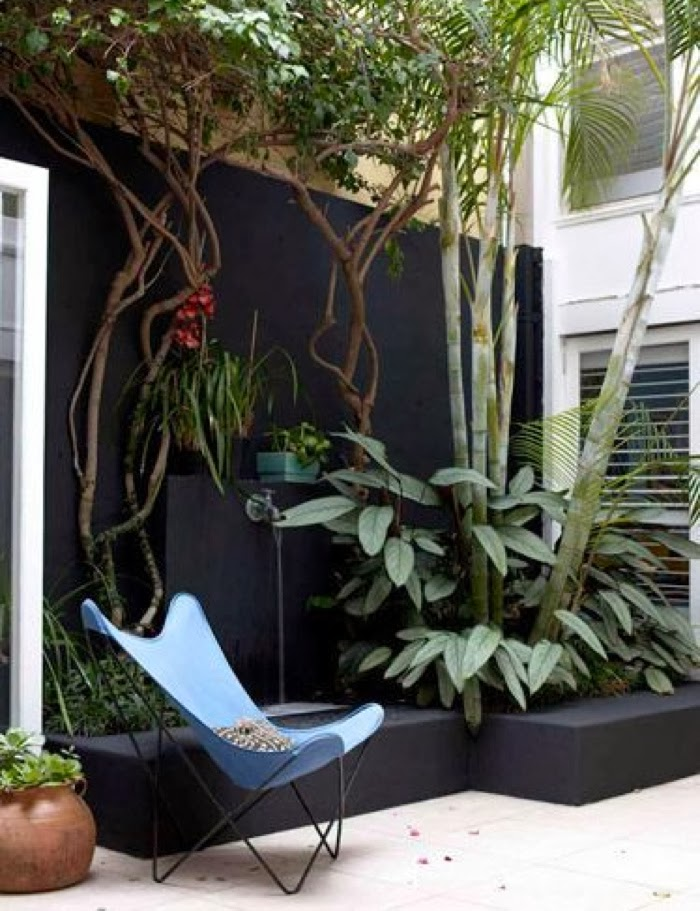 patio with black wall and butterfly chair