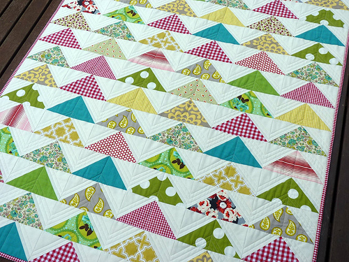Red Pepper Quilts Quilted Modern Flying Geese Quilt And