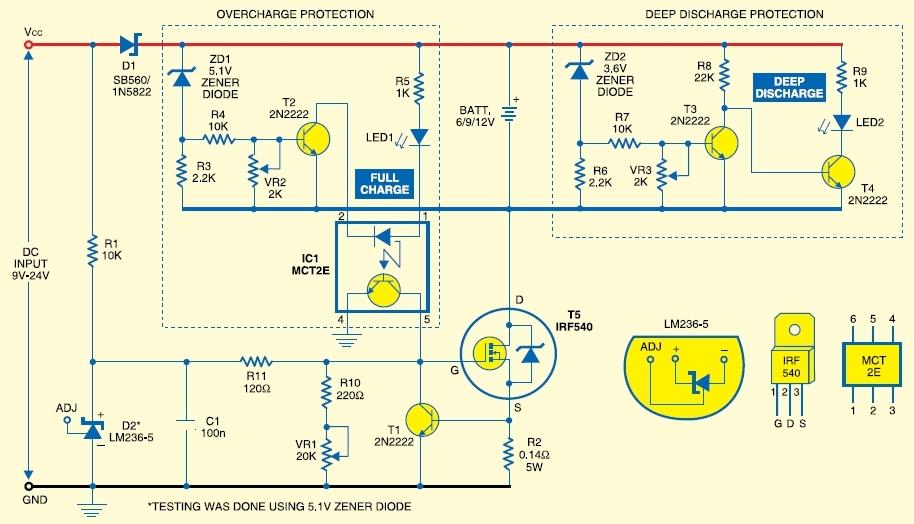 Схема заряда 12v аккумулятора