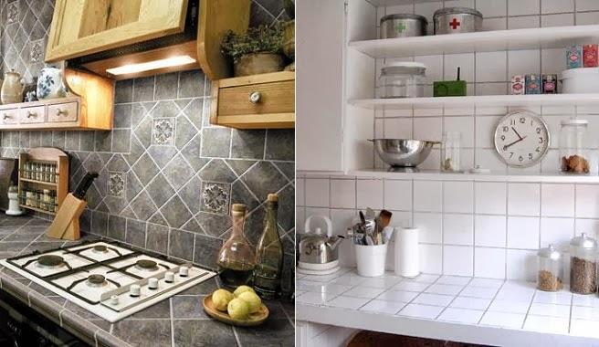 Cozinhas bancadas de azulejo decora o e ideias - Como hacer una encimera de cocina de obra ...