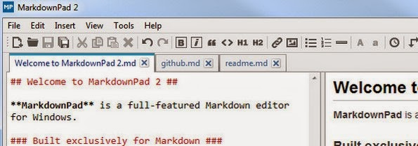 MarkdownPad editor for markdown files