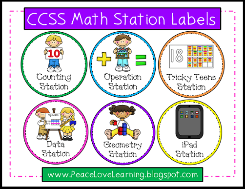 CCSS Math Station Labels from Peace, Love & Learning