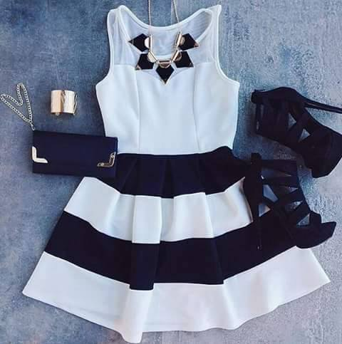 Striped Dress, Heels, Clutch, Necklace | Outfits