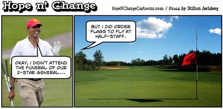 obama, obama jokes, political, humor, cartoon, hope n' change, hope and change, stilton jarlsberg, funeral, arlington, general, golf, vacation