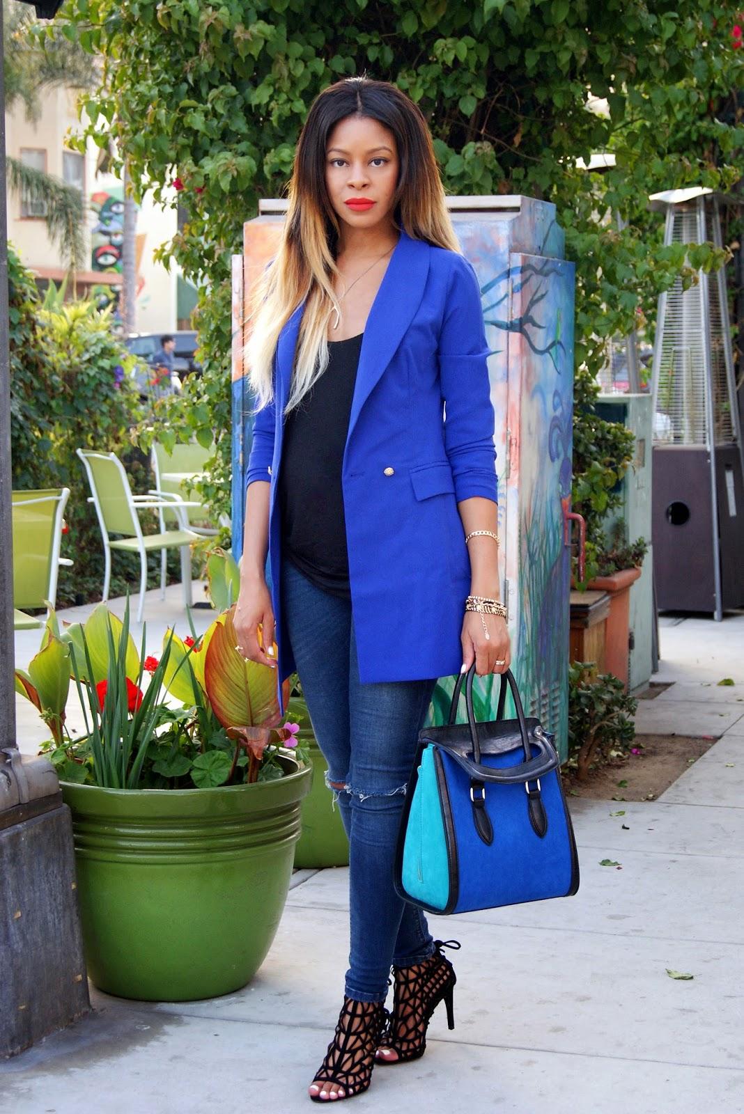 blue blazer, boyfriend blazer, nasty gal blazer, celine inspired bag, allthingsslim, ombre hair, zara heels