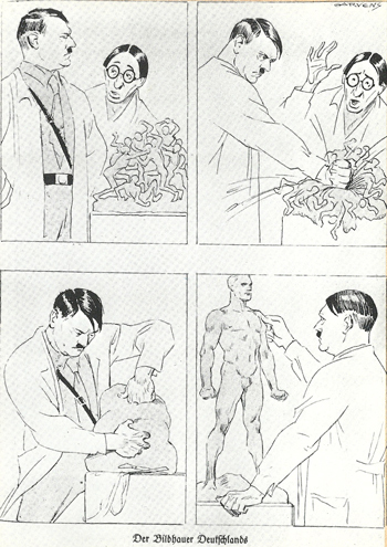 "Nazi propaganda cartoon, Hitler as, ""The Sculptor of Germany"""