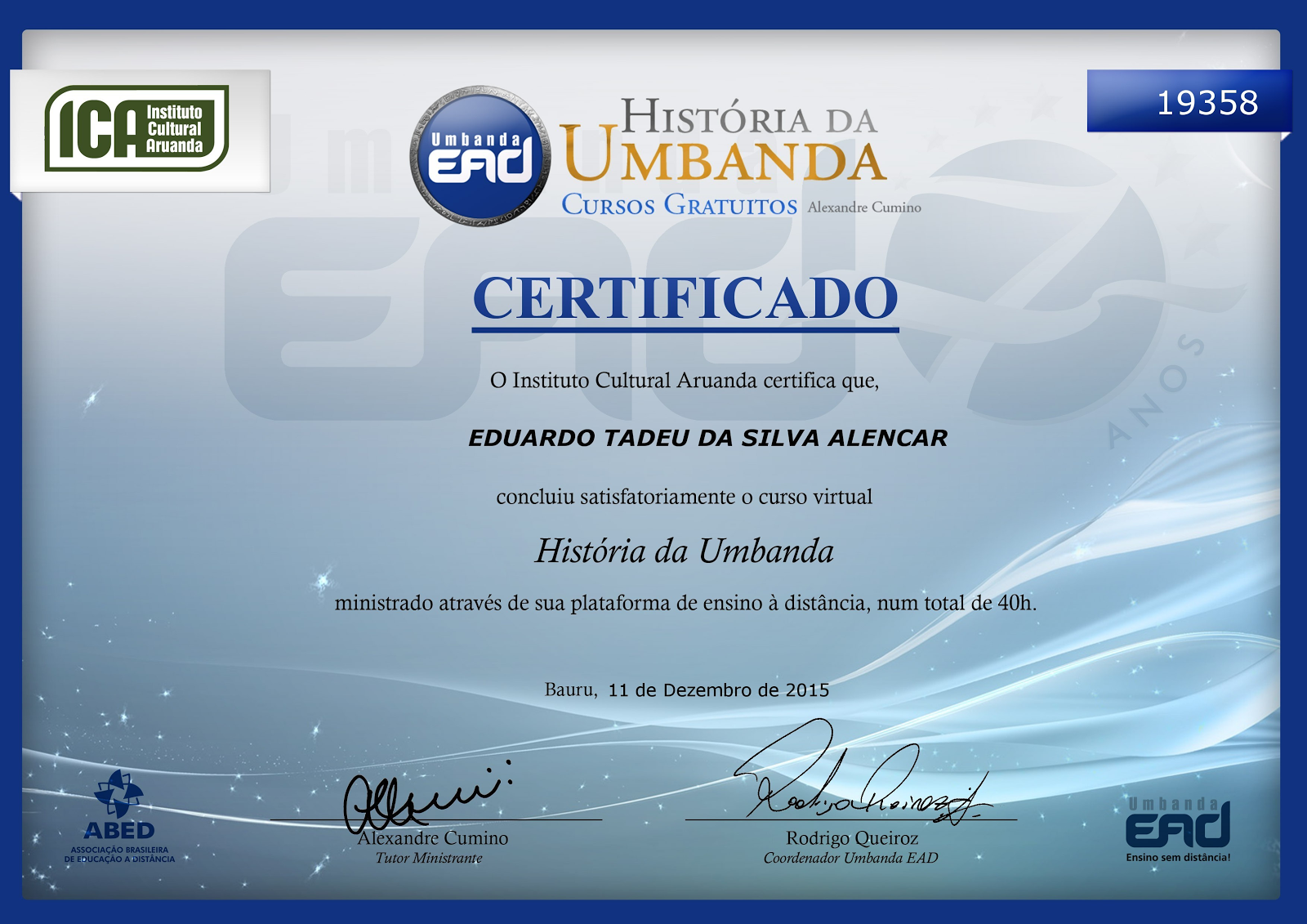 """Certificado do curso: """"História da Umbanda"""""""