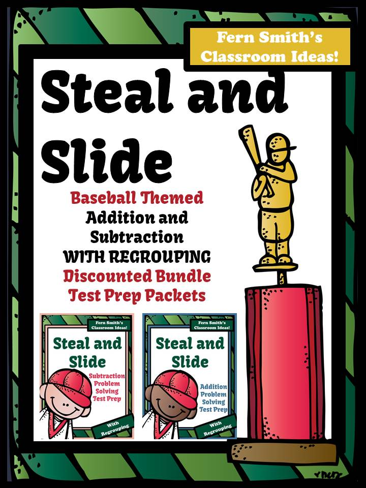 Fern Smith's Test Prep Discounted Bundle Baseball Addition and Subtraction With Regrouping