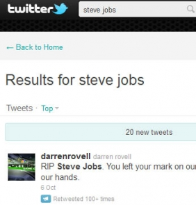 News Death of Steve Jobs in Twitter