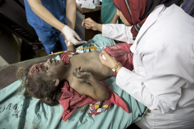 Criança palestina vítima dos ataques israelenses