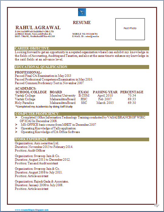 resume co excellent resume of ca chartered