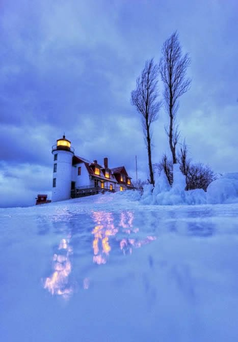 Point Betsie Lighthouse -- Michigan; what a great place to slide at twilight, with the lights glistening on the icy snow-cover!! ... ♥♥♥♥♥