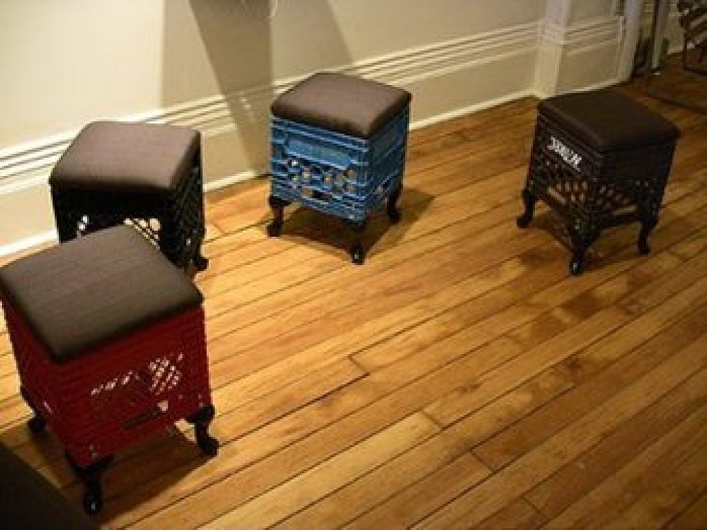 How to recycle recycling plastic milk crates for Diy crate furniture