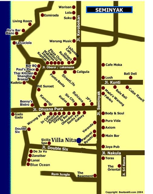 Mapa de Seminyak en Bali