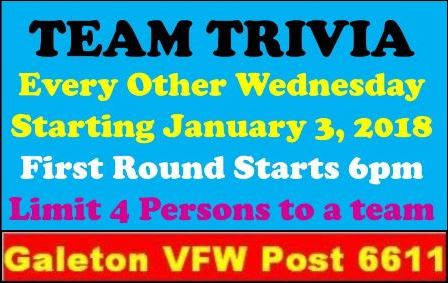 1-31 Team Trivia Galeton VFW