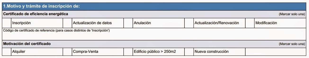 registro certificado energético Aragón - Apartado 1 anexo II
