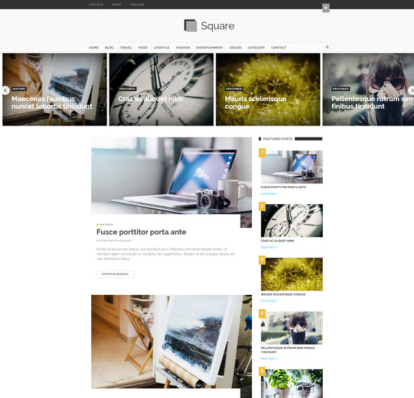 Square Modern Magazine - Best Magazine Free Blogger Template 2016