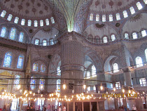 Interior of The Blue Mosque, Istanbul, with its 20,000 blue tiles