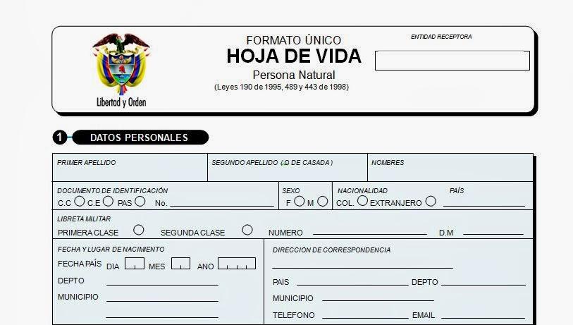 FORMATO ÚNICO DE HOJA DE VIDA