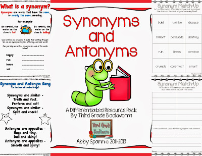 http://www.teacherspayteachers.com/Product/Synonyms-and-Antonyms-A-Differentiated-Resource-Pack-138693