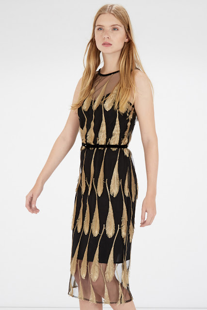 black gold feather dress, warehouse black gold dress,