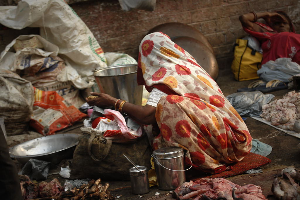 Indian woman preparing meat in Delhi in India